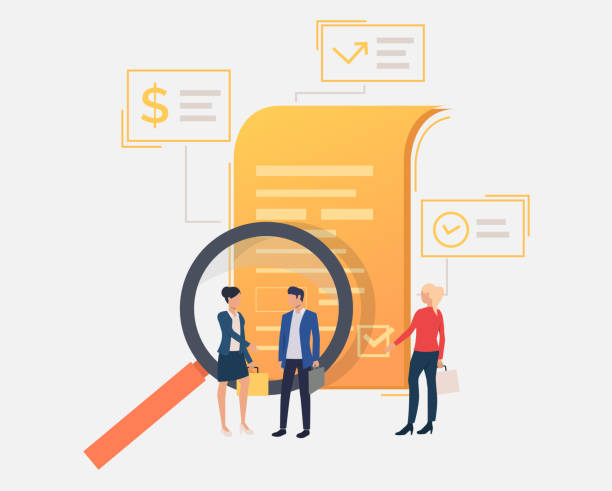 Business people standing at document. Magnifying glass, analysis, contract. Search concept. Vector illustration can be used for topics like business, internet, partnership